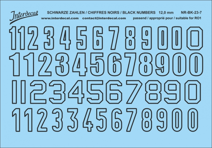 Schwarze Zahlen 07 for R01  12 mm (110x78mm) NR-BK-23-7