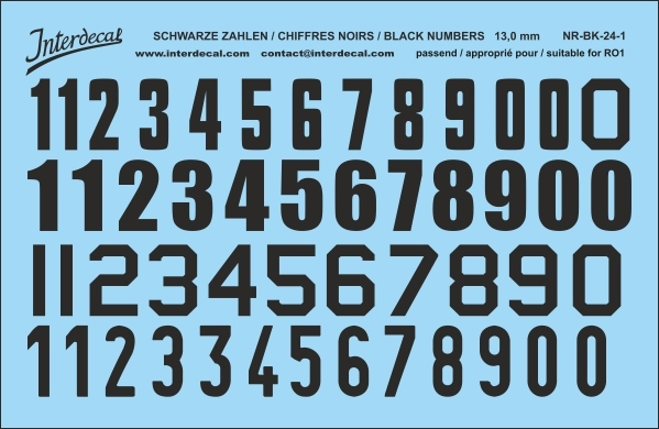 Black numbers 01 for RO1 13 mm  (120x78 mm) NR-BK-24-1