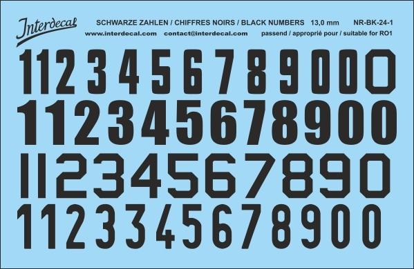 Schwarze Zahlen 01 für RO1 13 mm  (120x78 mm) NR-BK-24-1