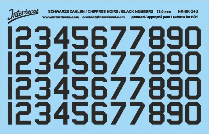 Schwarze Zahlen 02 für RO1 13 mm  (120x78 mm) NR-BK-24-2