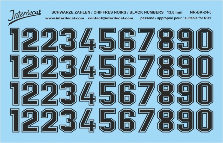 Black numbers 03 for RO1 13 mm  (120x78 mm) NR-BK-24-3