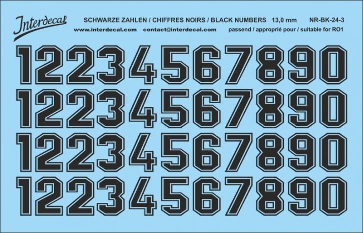 Schwarze Zahlen 03 für RO1 13 mm  (120x78 mm) NR-BK-24-3