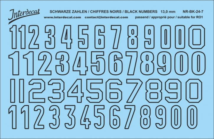 Schwarze Zahlen 07 for R01  13 mm(120x78 mm)  NR-BK-24-7