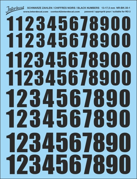 Black numbers 01 for RO2 13-17,5 mm high  (122x160 mm) NR-BK-30-1
