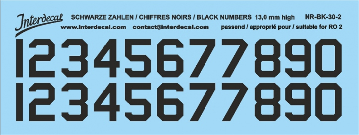 Black numbers 02 for RO2 13 mm high    (122x46 mm) NR-BK-30-2