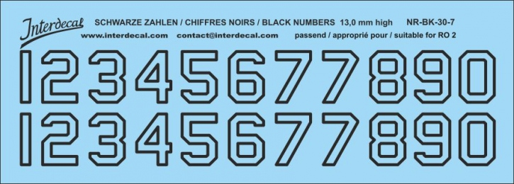 Black numbers 07 for RO2 13,0mm high (131x47 mm) NR-BK-30-7