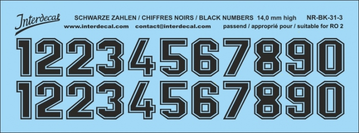 Black numbers 03 for RO2 14 mm high  (122x48 mm) NR-BK-31-3