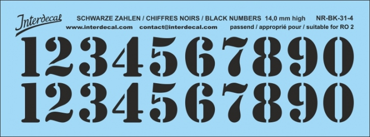 Black numbers 04 for RO2 14 mm high (129x48 mm) NR-BK-31-4