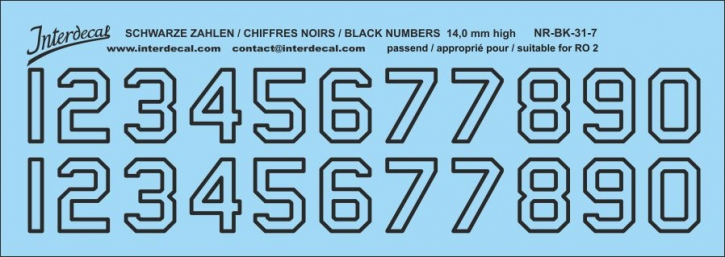 Black numbers 07 for RO2 14 mm high (141 x 50 mm)