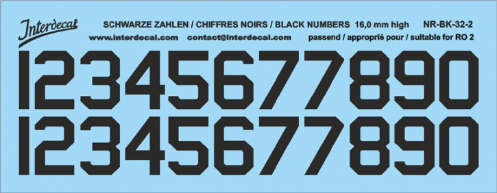 Black numbers 02 for RO2 16 mm high  (136x53 mm) NR-BK-32-2