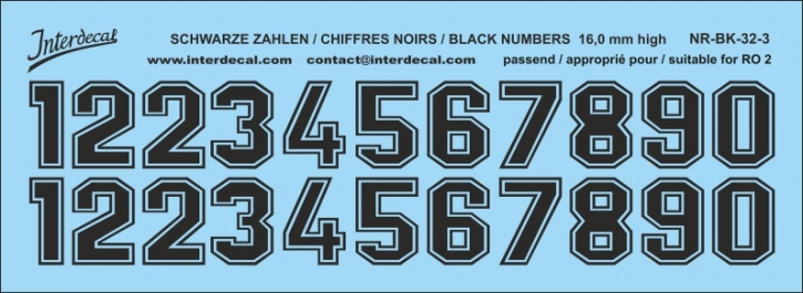 Black numbers 03 for RO2 16 mm high (145x53 mm) NR-BK-32-3