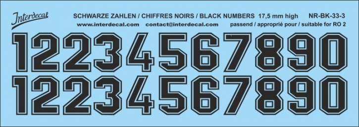 Black numbers 03 for RO2 17,5 mm high (158x56 mm) NR-BK-33-3
