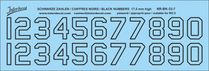 Black numbers 07 for RO2 17,5 mm high (169x58 mm)