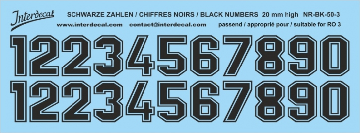 Black numbers 03 for RO3 20mm (173x64 mm) NR-BK-50-3
