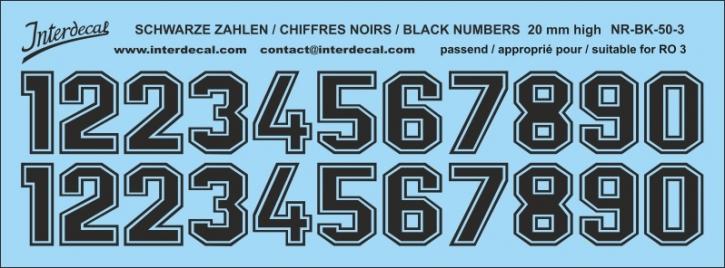 Schwarze Zahlen 03 für RO3 20mm (173x64 mm) NR-BK-50-3