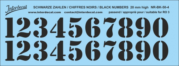 Black numbers 04 for RO3 20mm (173x64 mm) NR-BK-50-4