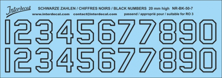 Black numbers 07 for RO3 20mm high (188x66 mm)