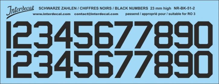 Schwarze Zahlen 02 für RO3 23mm (184x71 mm) NR-BK-51-2
