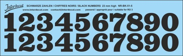 Black numbers 05 for RO3 23mm (227x69 mm) NR-BK-51-5