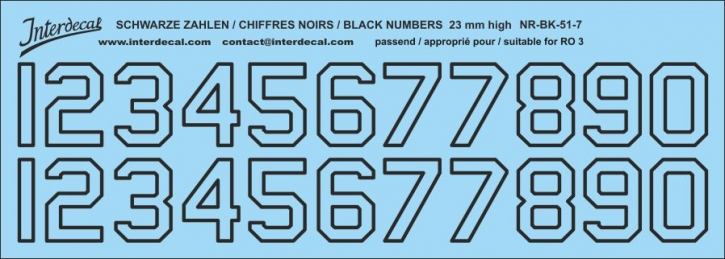 Black numbers 07 for RO3 23mm high (204x73 mm)
