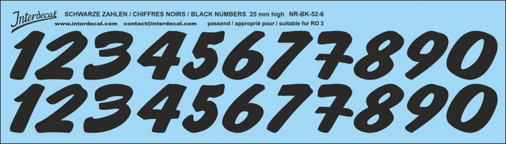 Black numbers 06 for RO3 25mm high  (256x73 mm)