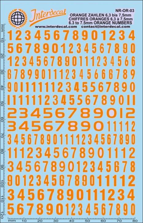 Orange numbers 3 6,3-7,5 mm (140x90 mm)