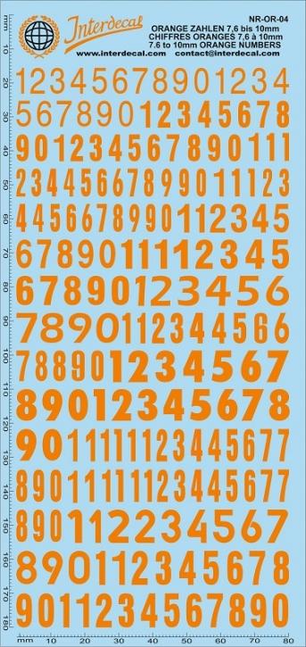 Orange numbers 4 7,6-10,0 mm (180x80 mm)
