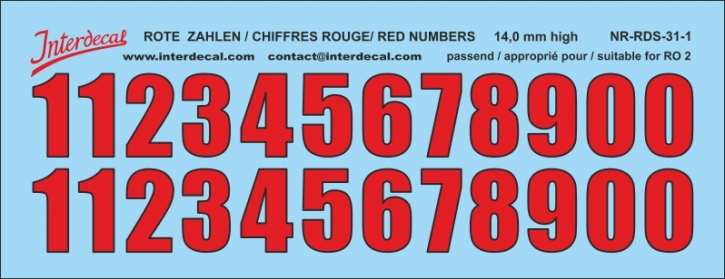 ZAHLEN / NUMBERS / CHIFFRES 01 for R02 rot-schwarz / red-black / rouge-noir 14 mm  (122x47 mm)
