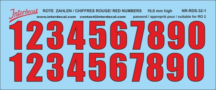 ZAHLEN / NUMBERS / CHIFFRES 01 for R02 rot-schwarz / red-black / rouge-noir 16 mm  (122x51 mm)
