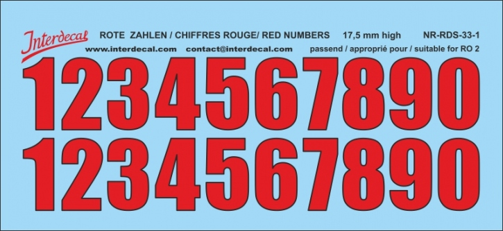 ZAHLEN / NUMBERS / CHIFFRES 01 for R02 rot-schwarz / red-black / rouge-noir 17,5 mm  (122x56 mm)