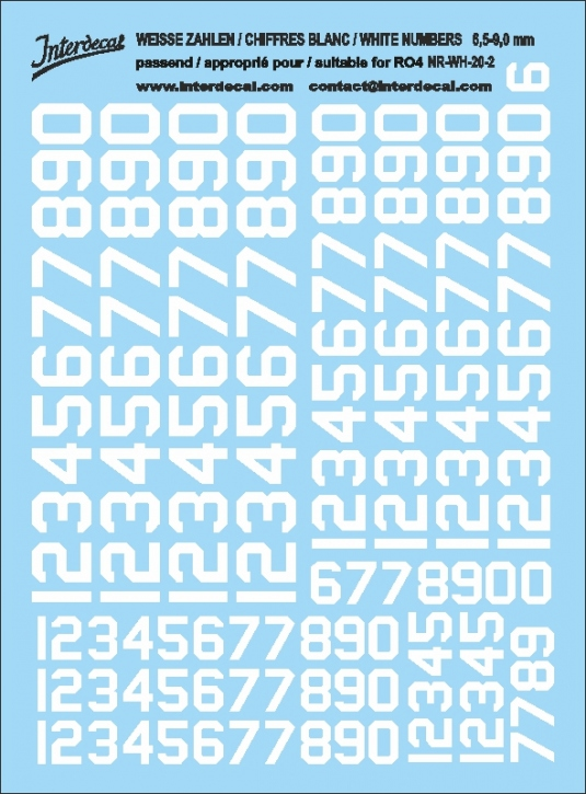 White numbers 02 for RO4 6,5-9 mm  (120x90 mm) NR-WH-20-2