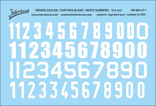 White numbers 01 for RO4 10 mm  (94x64 mm) NR-WH-21-1