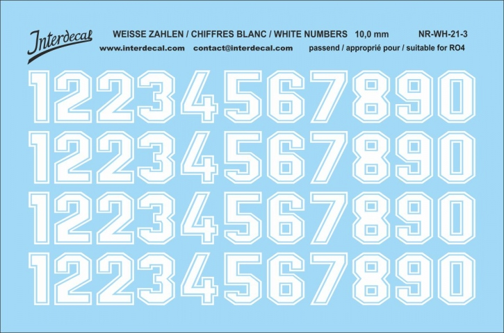 White numbers 03 for RO4 10 mm  (94x64 mm) NR-WH-21-3