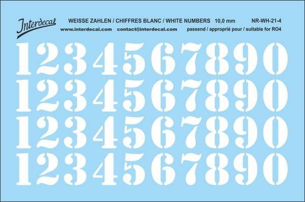 White numbers 04 for RO4 10 mm  (95x63 mm) NR-WH-21-4