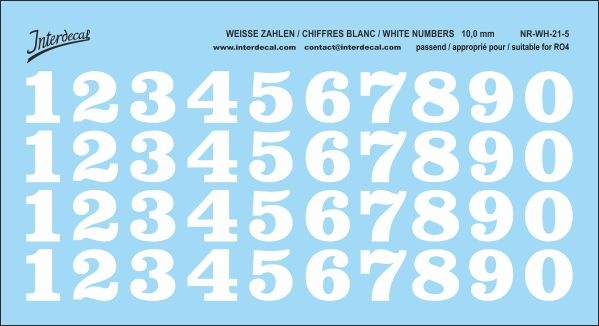 White numbers 05 for RO4 10 mm  (116x64 mm) NR-WH-21-5