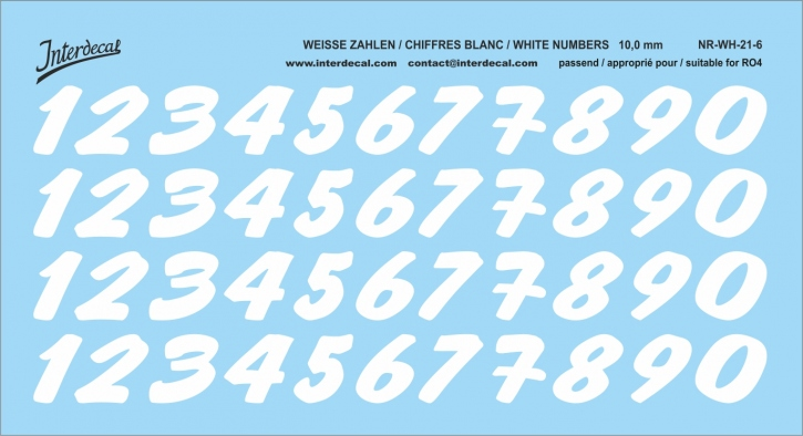 White numbers 06 for RO4 10 mm  (116x64 mm) NR-WH-21-6