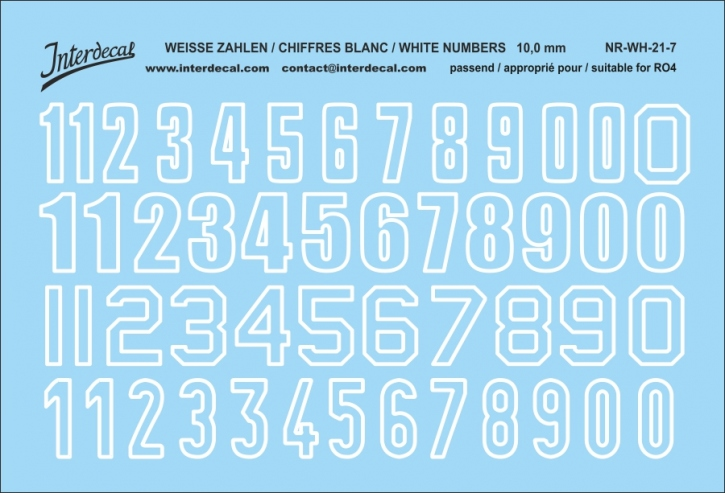 White numbers 07 for RO4 10 mm (94x64mm)  NR-WH-21-7