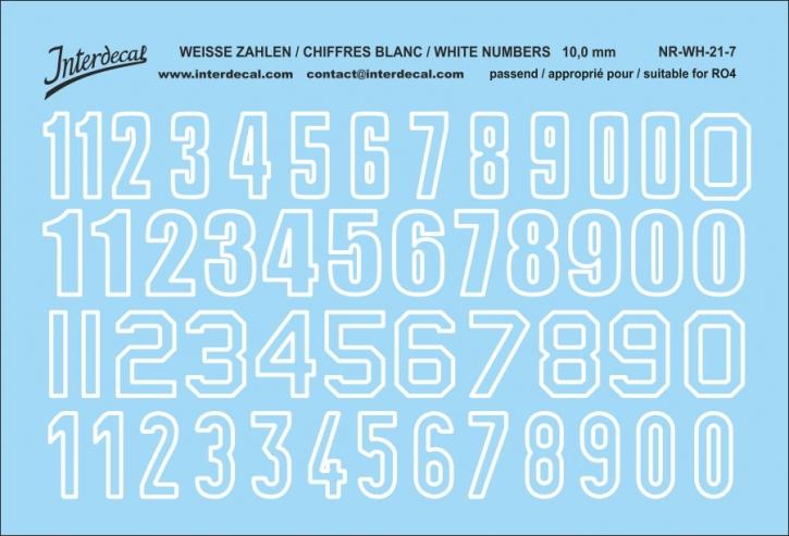 Weiße Zahlen  07 for R04 weiss / white / blanc 10 mm (94x64mm) NR-WH-21-7