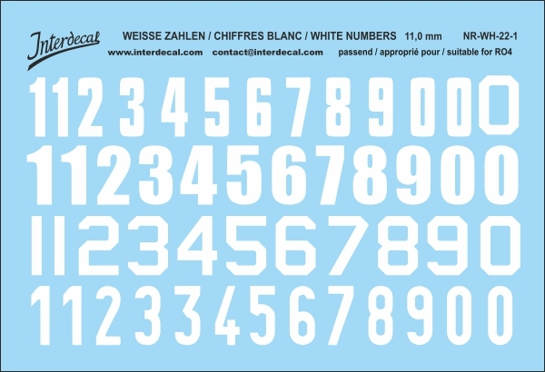 White numbers 01 for RO4 11 mm  (100 x 69 mm) NR-WH-22-1