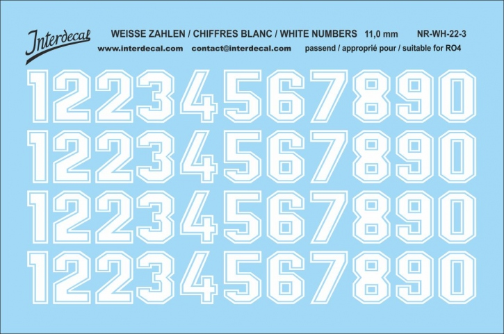 White numbers 03 for RO4 11 mm  (100 x 69 mm) NR-WH-22-3