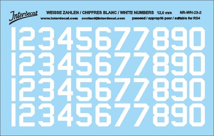 Weiße Zahlen 02 für RO4 12 mm   (104 x 69 mm) NR-WH-23-2