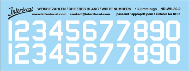 White numbers 02 for RO5 13 mm high (122x46mm) NR-WH-30-2