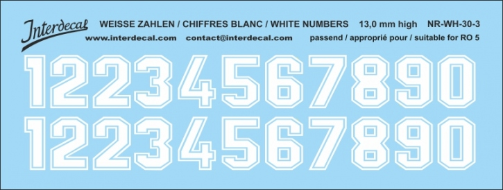 White numbers 03 for RO5 13 mm high (122x46mm) NR-WH-30-3