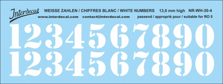 White numbers 04 for RO5 13 mm high (122x46mm) NR-WH-30-4