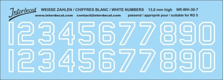 Weiße Zahlen 07 für RO5 13 mm hoch (131x470 mm)