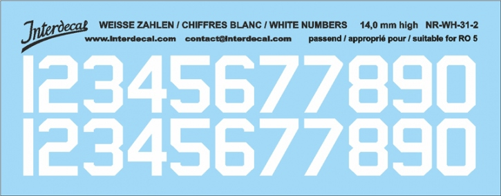 White numbers 02 for RO5 14 mm high (122x48mm) NR-WH-31-2