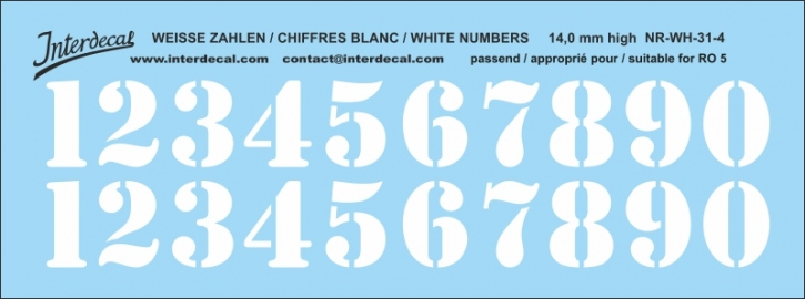 White numbers 04 for RO5 14 mm high (122x48mm) NR-WH-31-4
