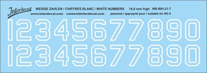 Weiße Zahlen 07 für RO5 14 mm hoch (141x50 mm)