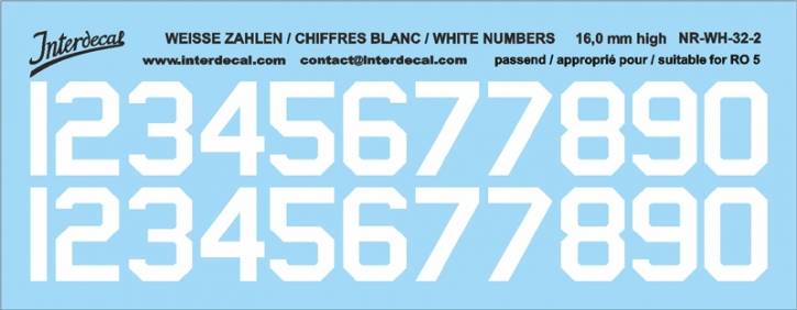White numbers 02 for RO5 16 mm high (136x53 mm) NR-WH-32-2
