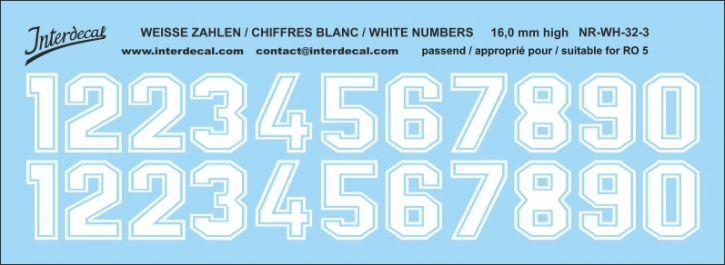 White numbers 03 for RO5 16 mm high (136x53 mm) NR-WH-32-3